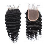 Virgin remy lace closure deep wave