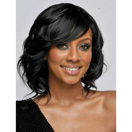 Short cut lace front wigs wavy black hair