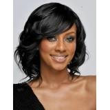 Short cut lace front wigs wavy black hair