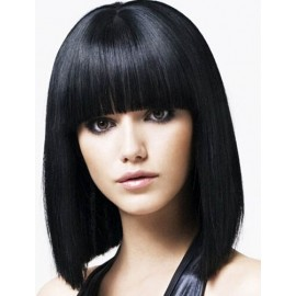 Human Remy hair capless wig full bangs black hair