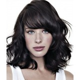 100% human hair wavy wigs with bangs black hair