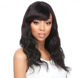Black human hair wigs with bangs