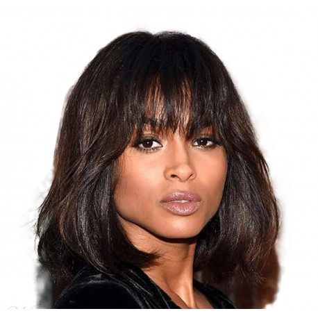 Ciara layered bob cut human hair capless wigs with bangs