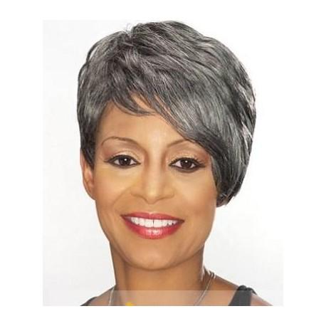 Custom made short human hair wigs grey hair