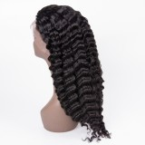 Virgin Brazilian hair deep Wave 13X6 lace Front wig pre-plucked hair line