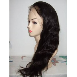 "Malaysian Full Lace Front Wigs Virgin Hair 18"" Natural Wavy"